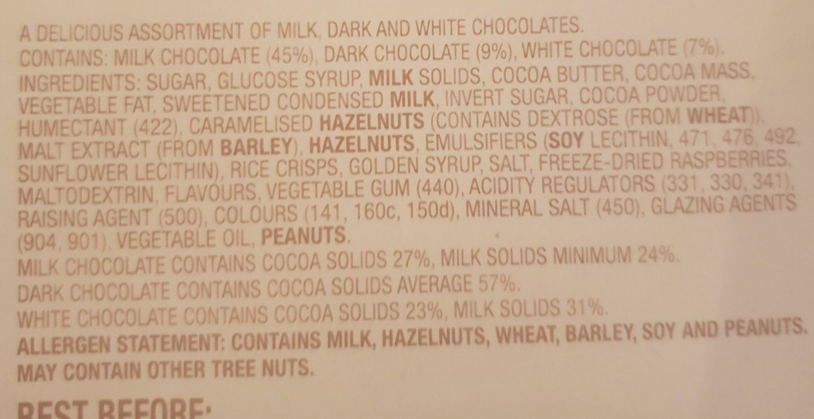 Cadbury Roses Chocolate - Ingredients - en