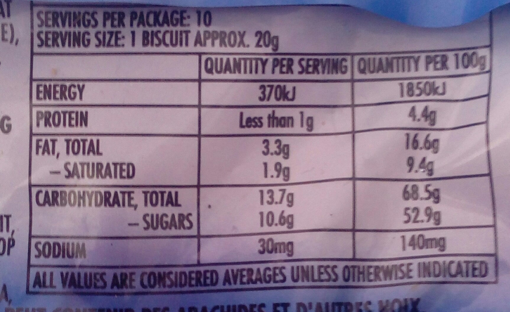 Griffins Mallowpuffs Chocolate Biscuits Double Choc - Nutrition facts
