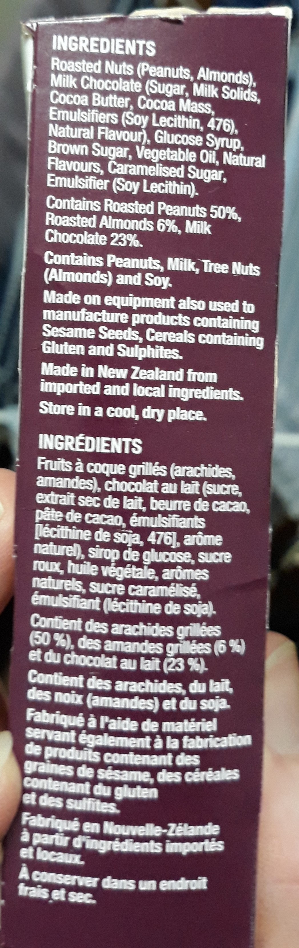 Nice & Natural Roasted Nut Bar Chocolate Almond - Ingredients - en