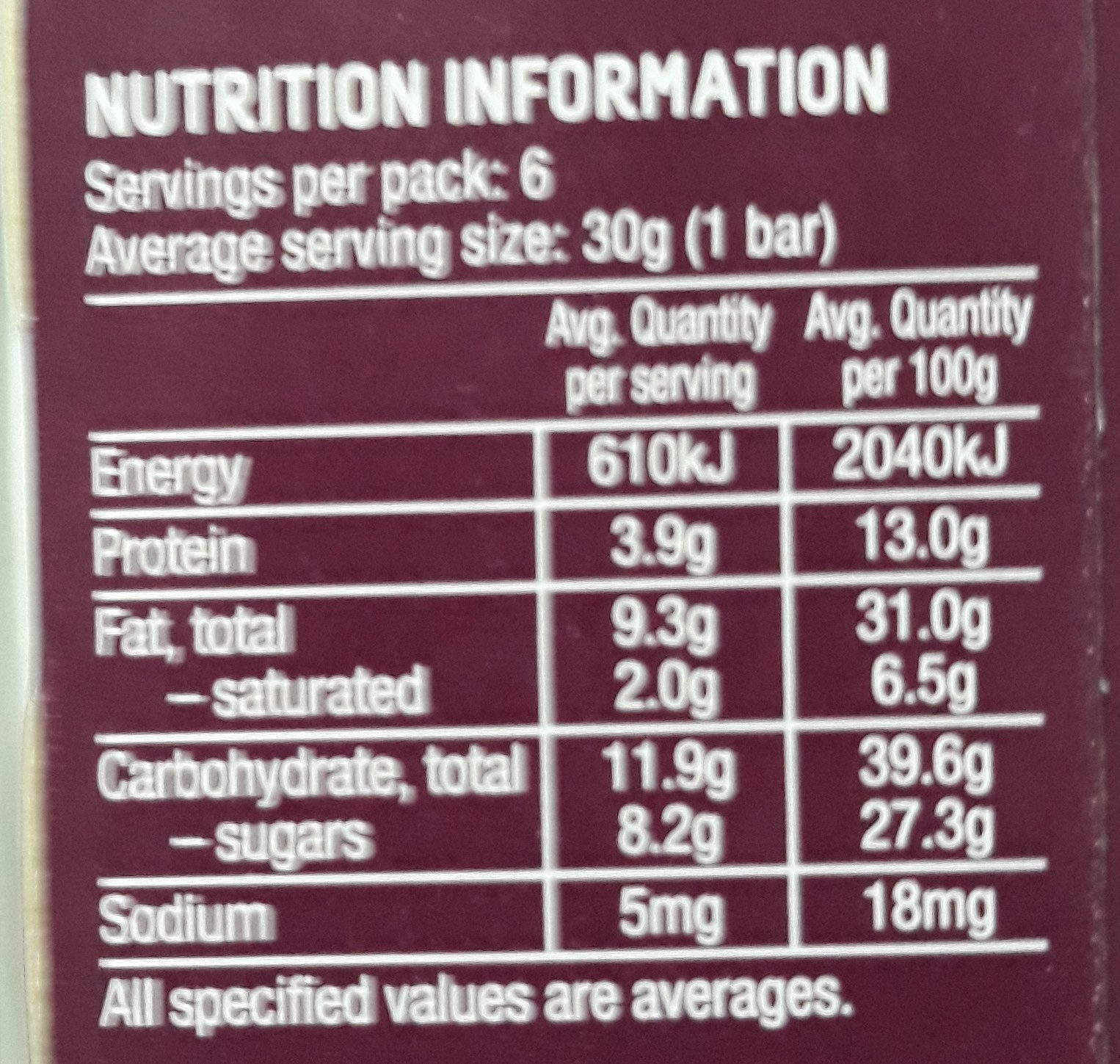 Nice & Natural Roasted Nut Bar Chocolate Almond - Nutrition facts - en