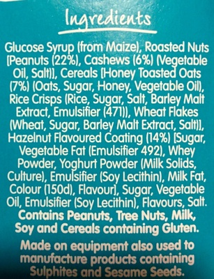 Nut Bar - Caramel Cashew Flavour - Ingrediënten