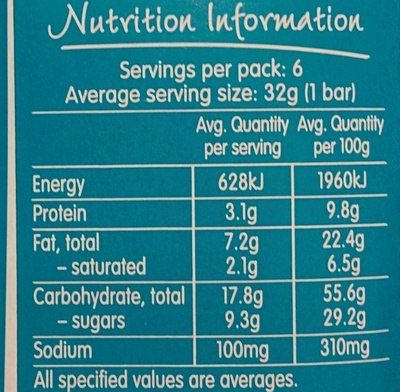 Nut Bar - Caramel Cashew Flavour - Voedingswaarden