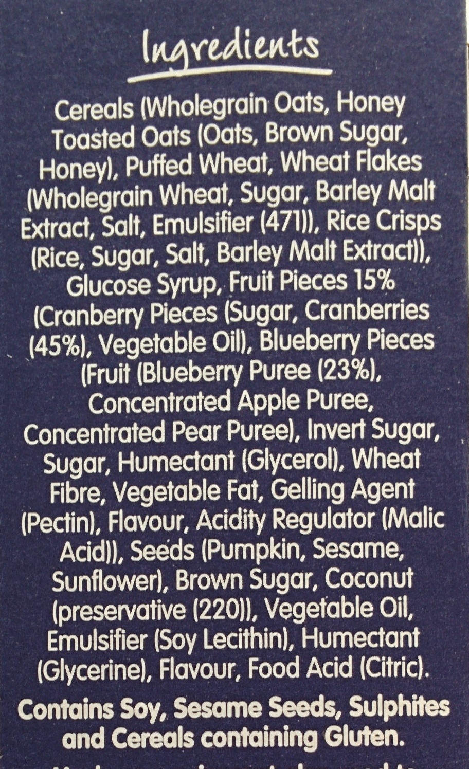 Superfruits - Cranberry & Blueberry - Ingrediënten - en