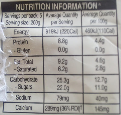 Gourmet Yoghurt - Informations nutritionnelles