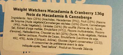 Barres de Céréales Noix Macadamia & Cranberry - Ingredients - fr