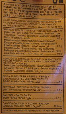 Bebida de avena calcium - Información nutricional - fr