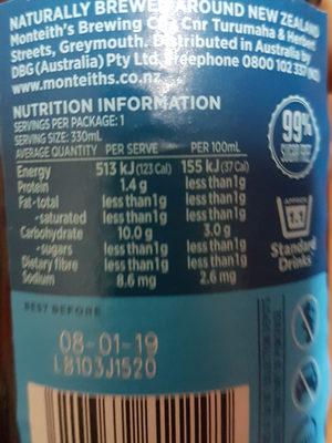 pointers pale ale - Informations nutritionnelles - en