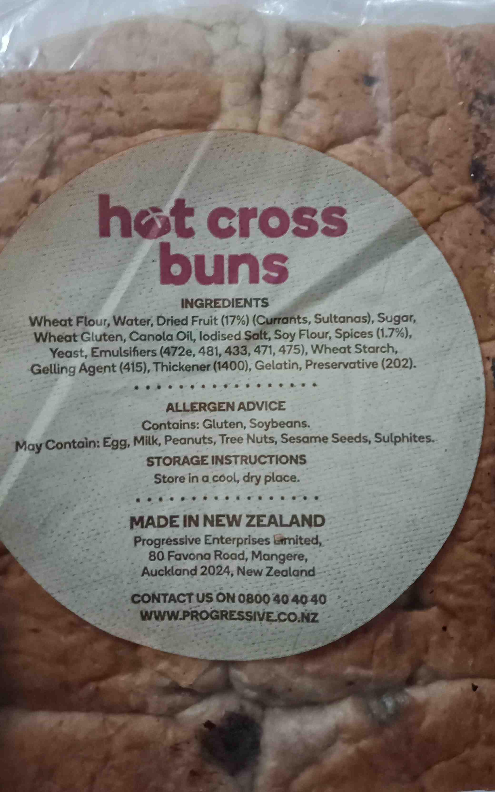 Woolworth hot cross buns - Ingredients - en