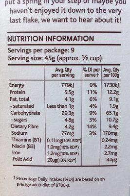 Light & Right Cereal Hazelnut & Almond - Informations nutritionnelles