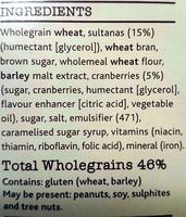 Bran Sultana & Cranberry - Ingrediënten