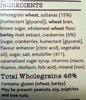 Bran Sultana & Cranberry - Ingredients