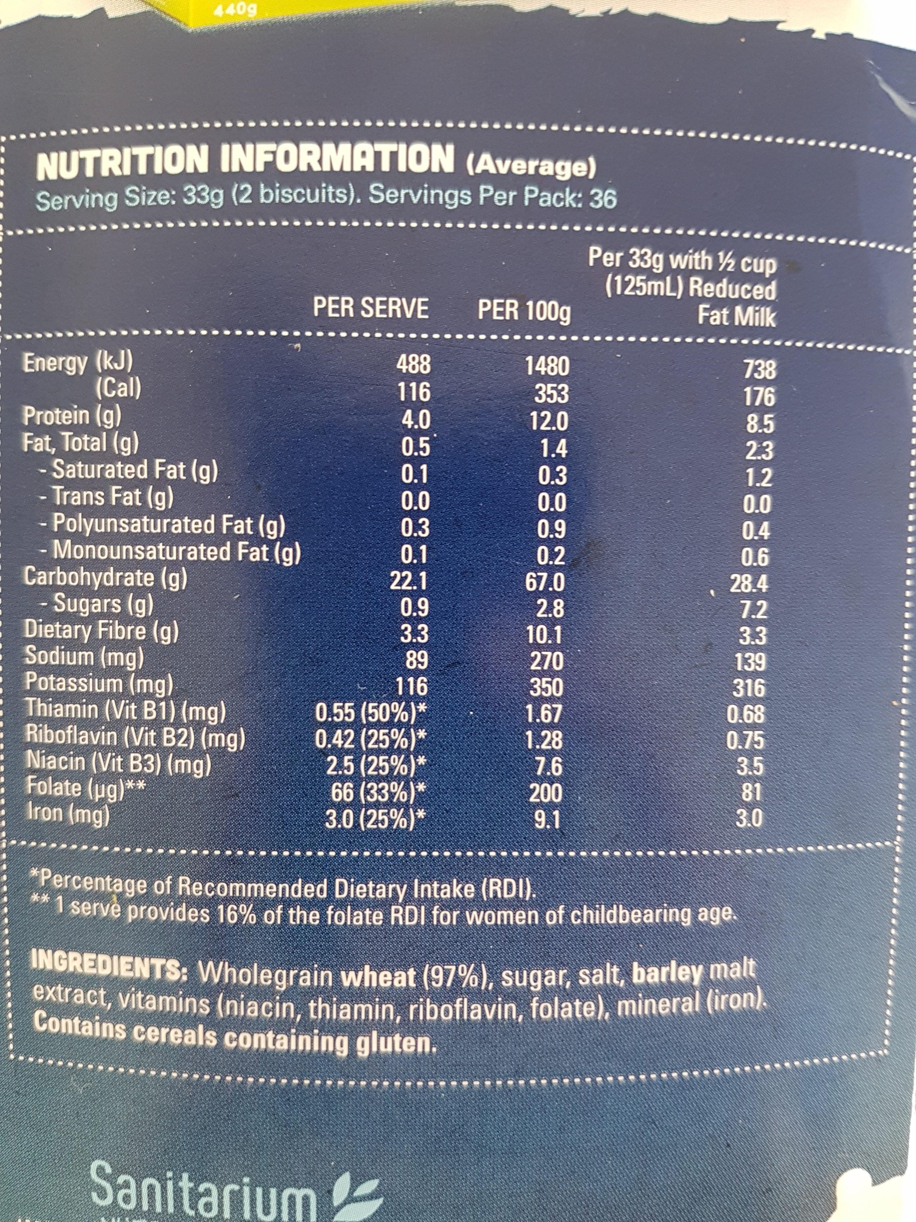 Sanitarium Weet Bix - Voedingswaarden