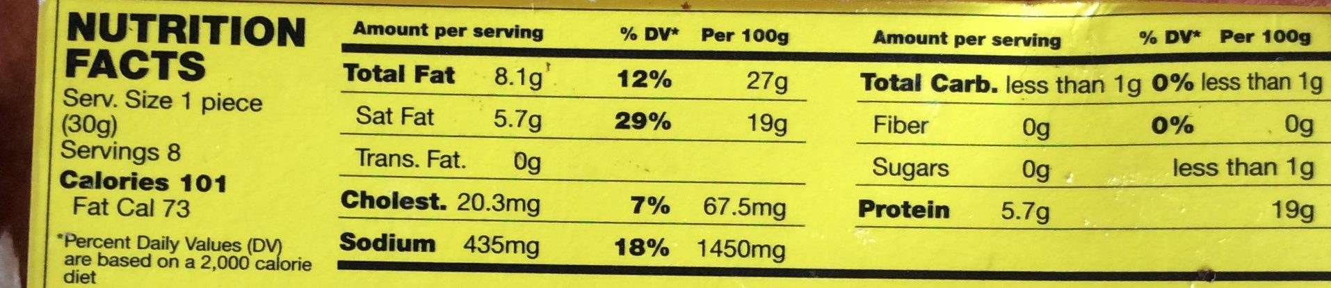 Cheddar Fondu - Nutrition facts