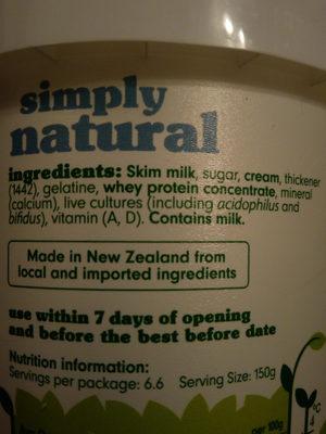 Simply natural sweetened low fat yoghurt - Ingredients - en