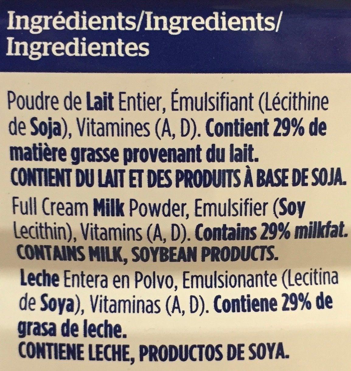 Lait entier en poudre - Ingredients