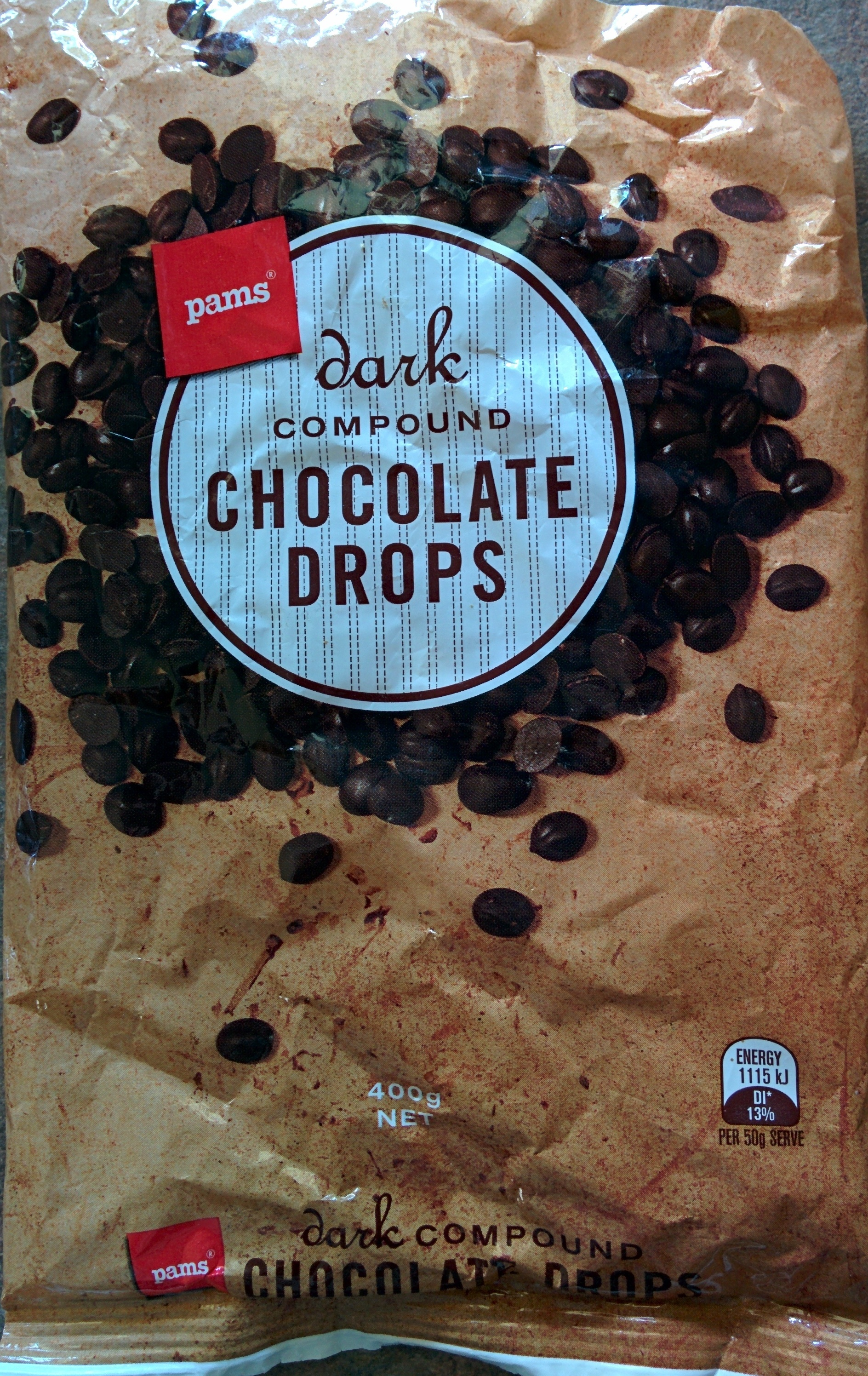 Dark Compound Chocolate Drops - Pams - 400 g