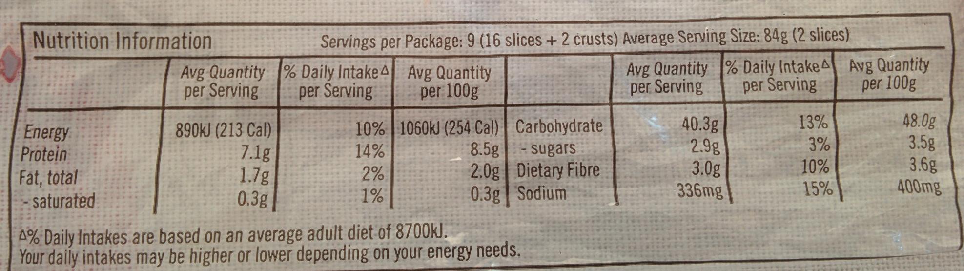 Ploughmans Harvest Rye - Informations nutritionnelles - en