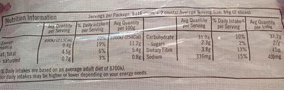 Ploughmans Otago Oats & Seeds - Informations nutritionnelles - en