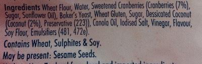 Fruit Loaf - Cranberry & Coconut Thick Sliced - Ingrédients