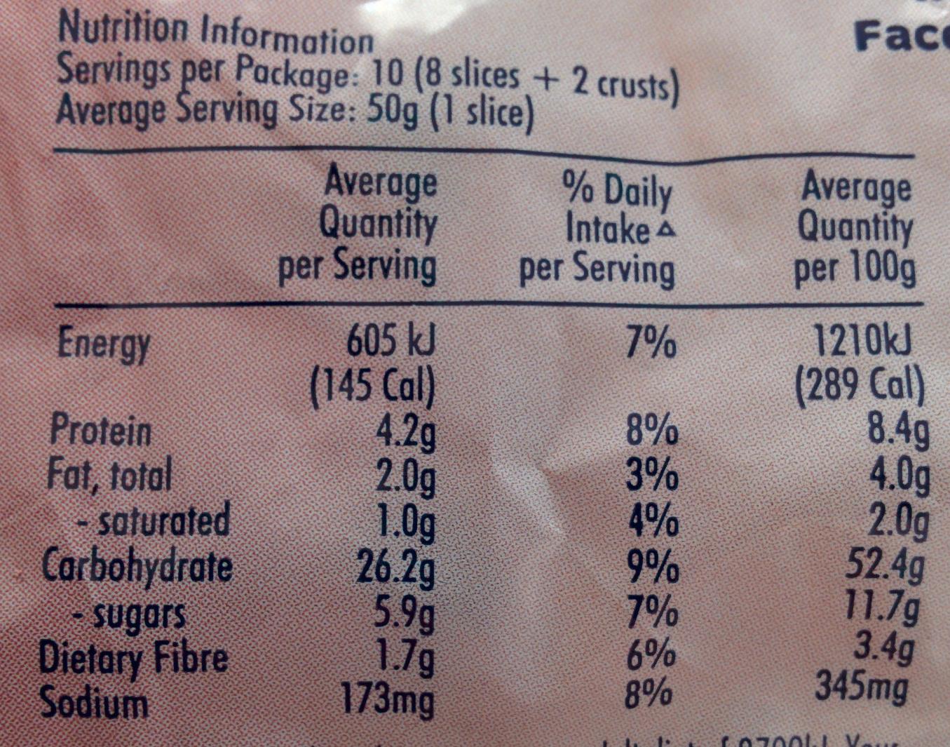 Fruit Loaf - Cranberry & Coconut Thick Sliced - Informations nutritionnelles