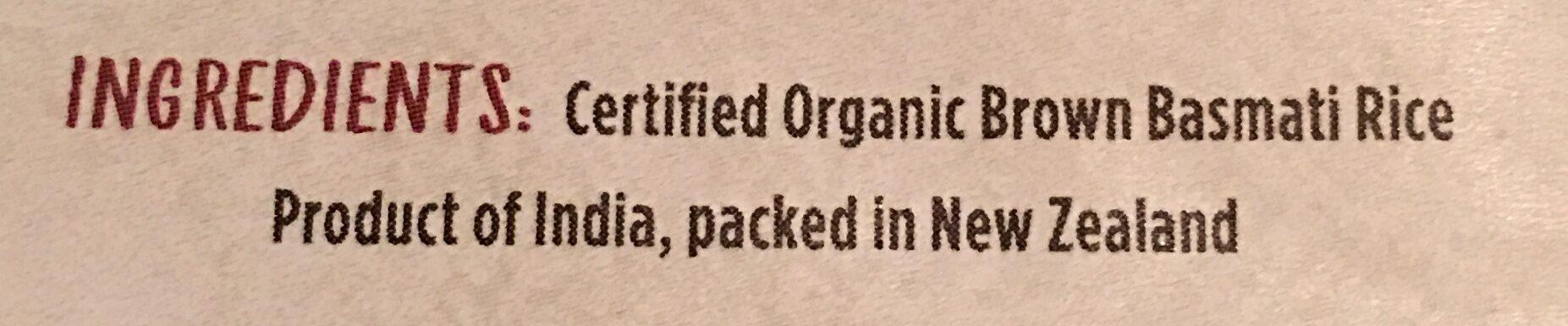 Certified Organic Brown Basmati Rice - Ingredients - en