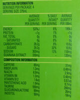 V energy drink - Nutrition facts - en