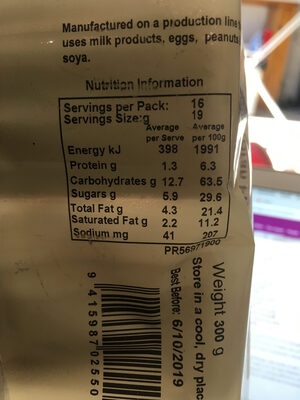 Spicy bran fingers - Nutrition facts