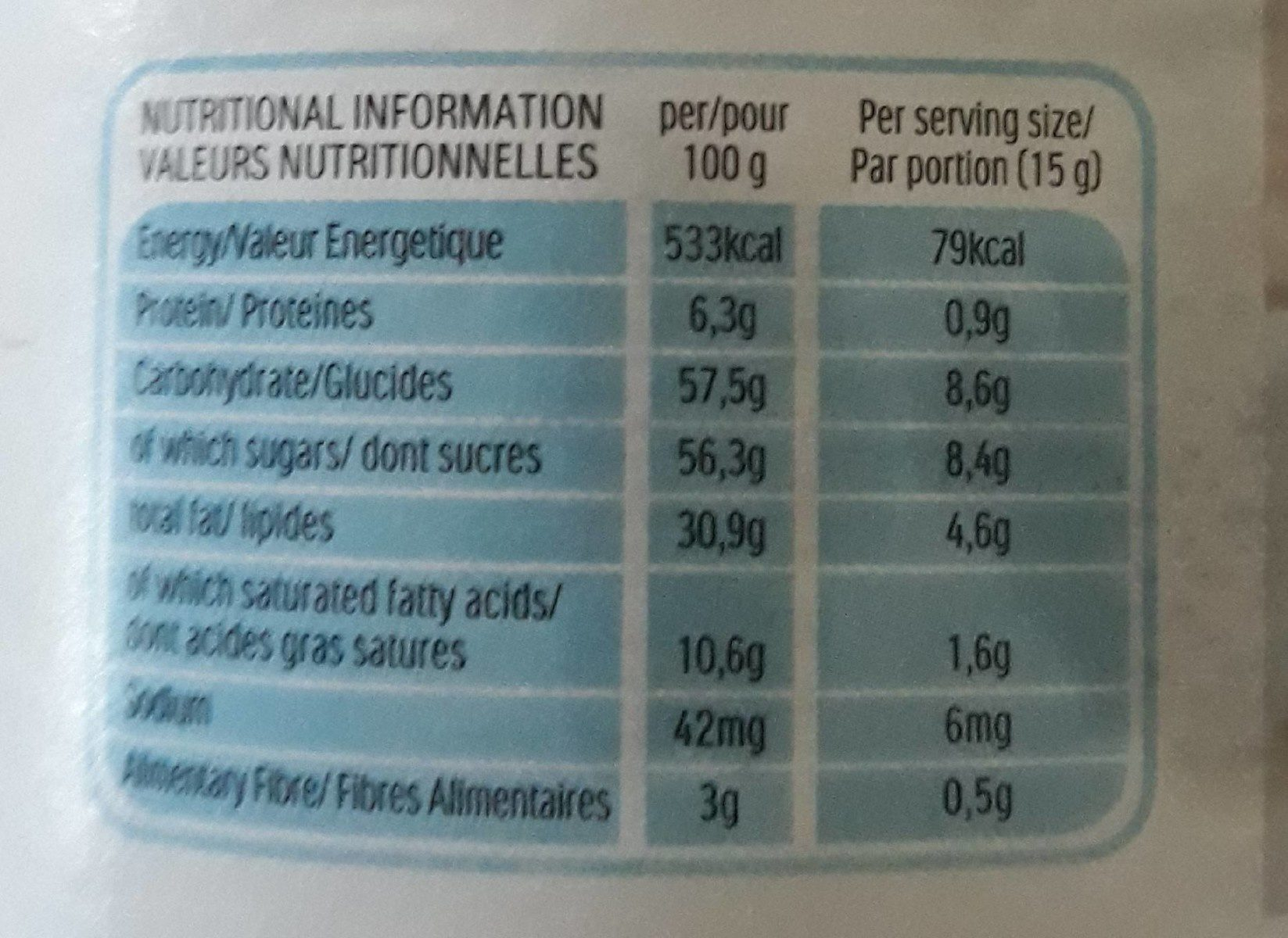 Farine  noramale - Informations nutritionnelles - fr