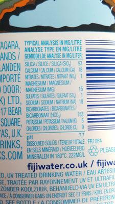 Fiji Water - Ingrediënten