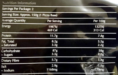 Authentic Italian Pizza Bases - Nutrition facts