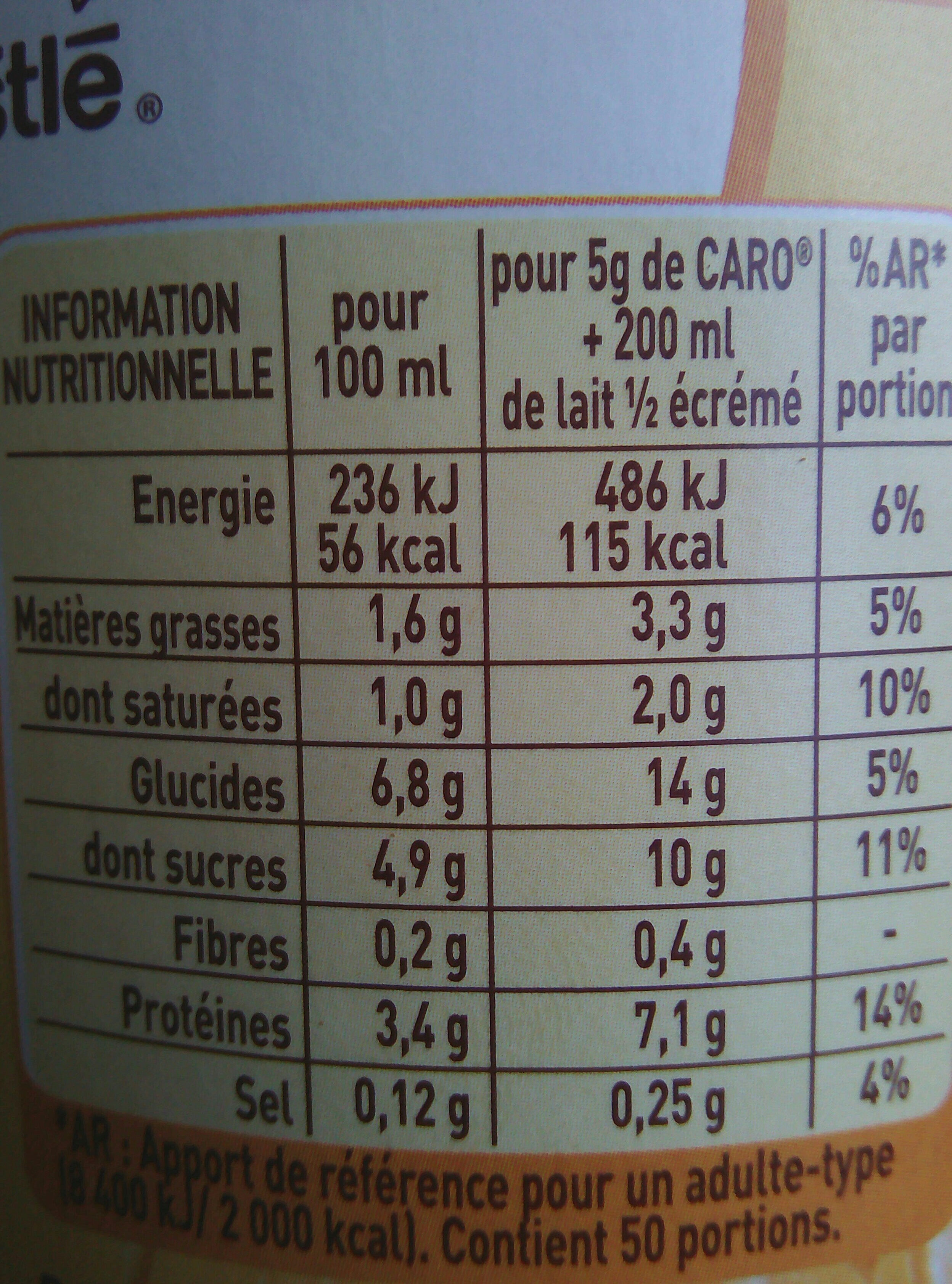 Caro - Nutrition facts - fr