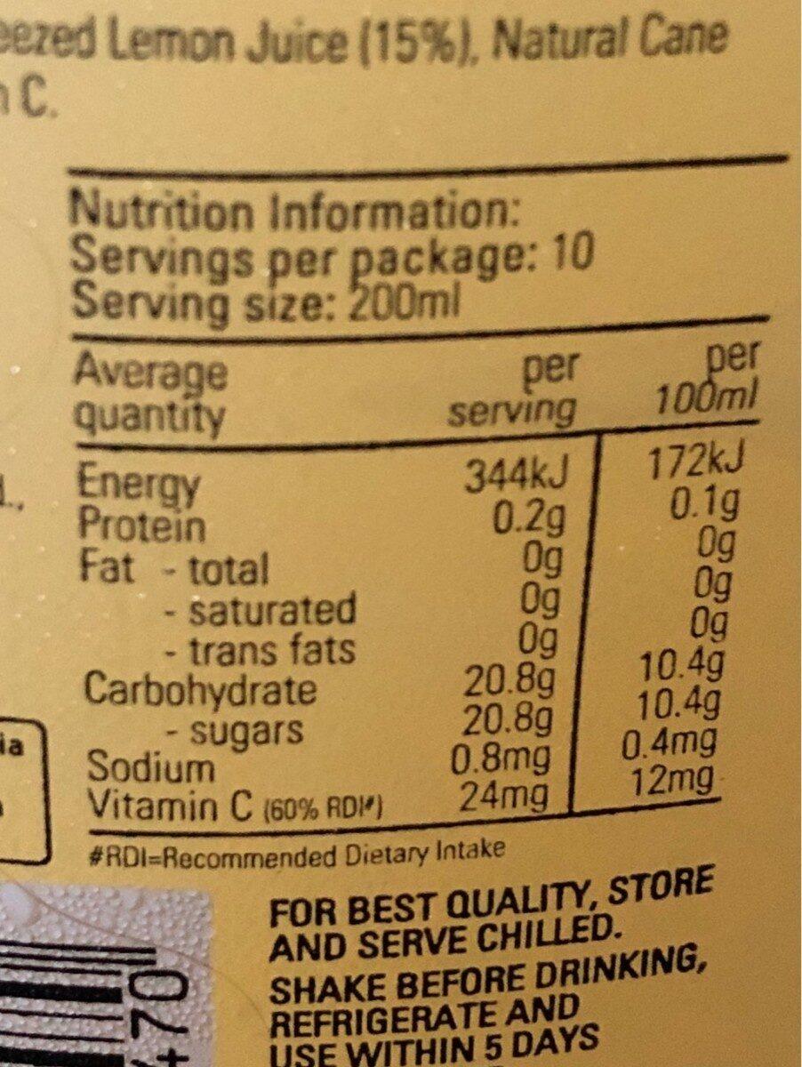 Charlie's Lemonade - Nutrition facts - en