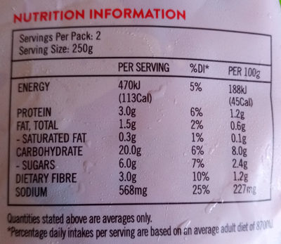 Organic minestrone soup - Nutrition facts - en