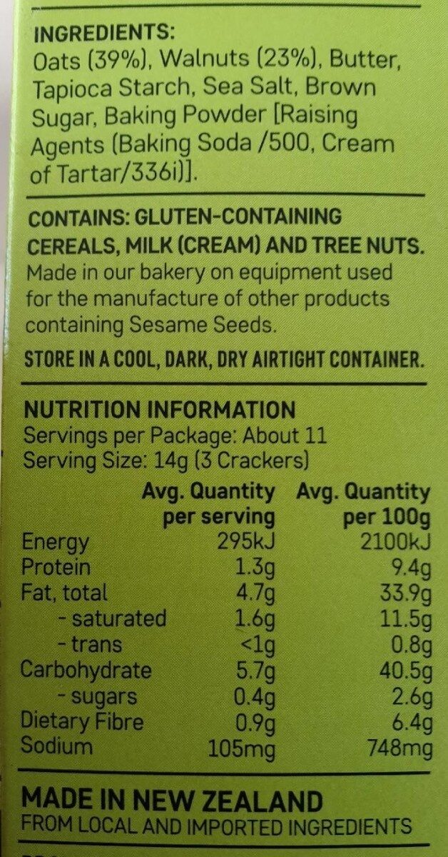 Walnut oat crackers - Nutrition facts - en