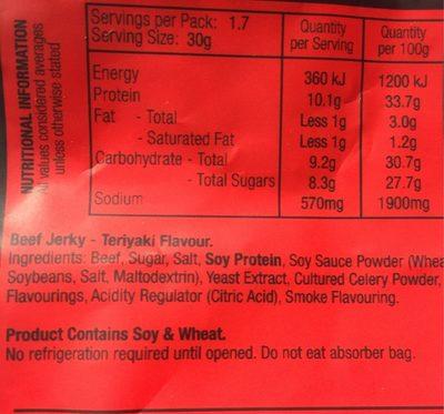 Teriyaki Beef Jerky - Nutrition facts - fr