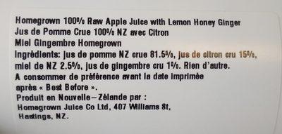 Lemon Honey Ginger - Ingrédients - fr