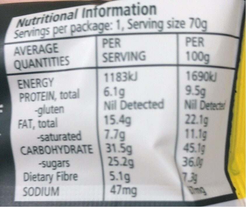 Fruit & Nut Snack ball - Nutrition facts - fr