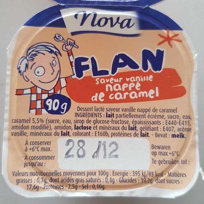 calorie Flan saveur Vanille Nappé de Caramel