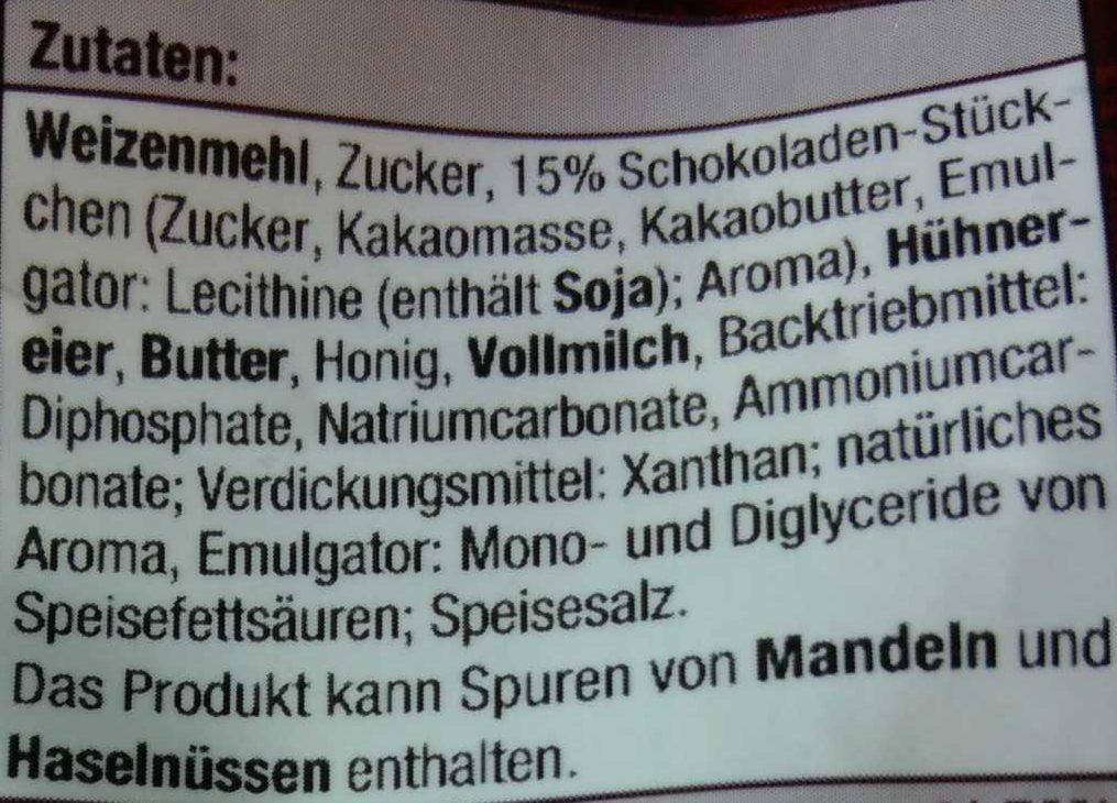 Cantuccini mit Schokolade - Inhaltsstoffe