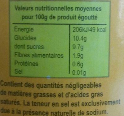 Ananas en morceaux - Voedingswaarden - fr
