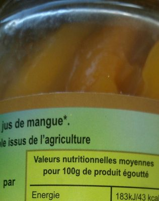 Mangue en tranches - Ingredienti - fr