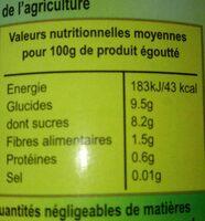 Mangue en tranches - Valori nutrizionali - fr