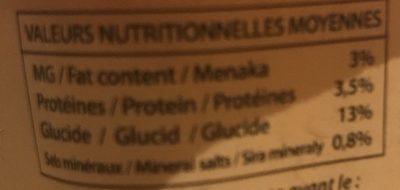 Yaourt Brassé Coco - Informations nutritionnelles