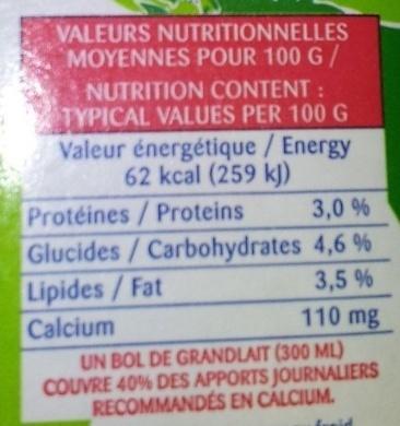 GrandLait - Voedingswaarden - fr