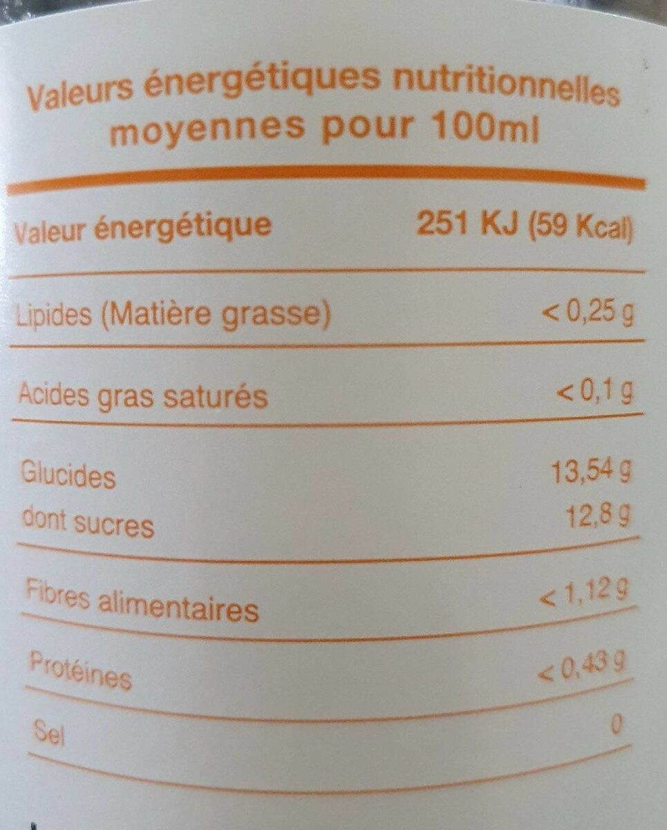 100% fruits bio - Informations nutritionnelles - fr