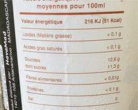 Jus bio a l'hibiscus - Informations nutritionnelles - fr