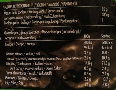 Nouilles instantanées saveur légumes - Informations nutritionnelles