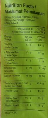 Freshly Baked Sandwich Bread - Informations nutritionnelles - en
