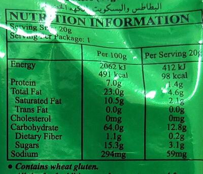 นทู ขนมปังมันฝรั่งอบกรอบรสผัก - Valori nutrizionali - th