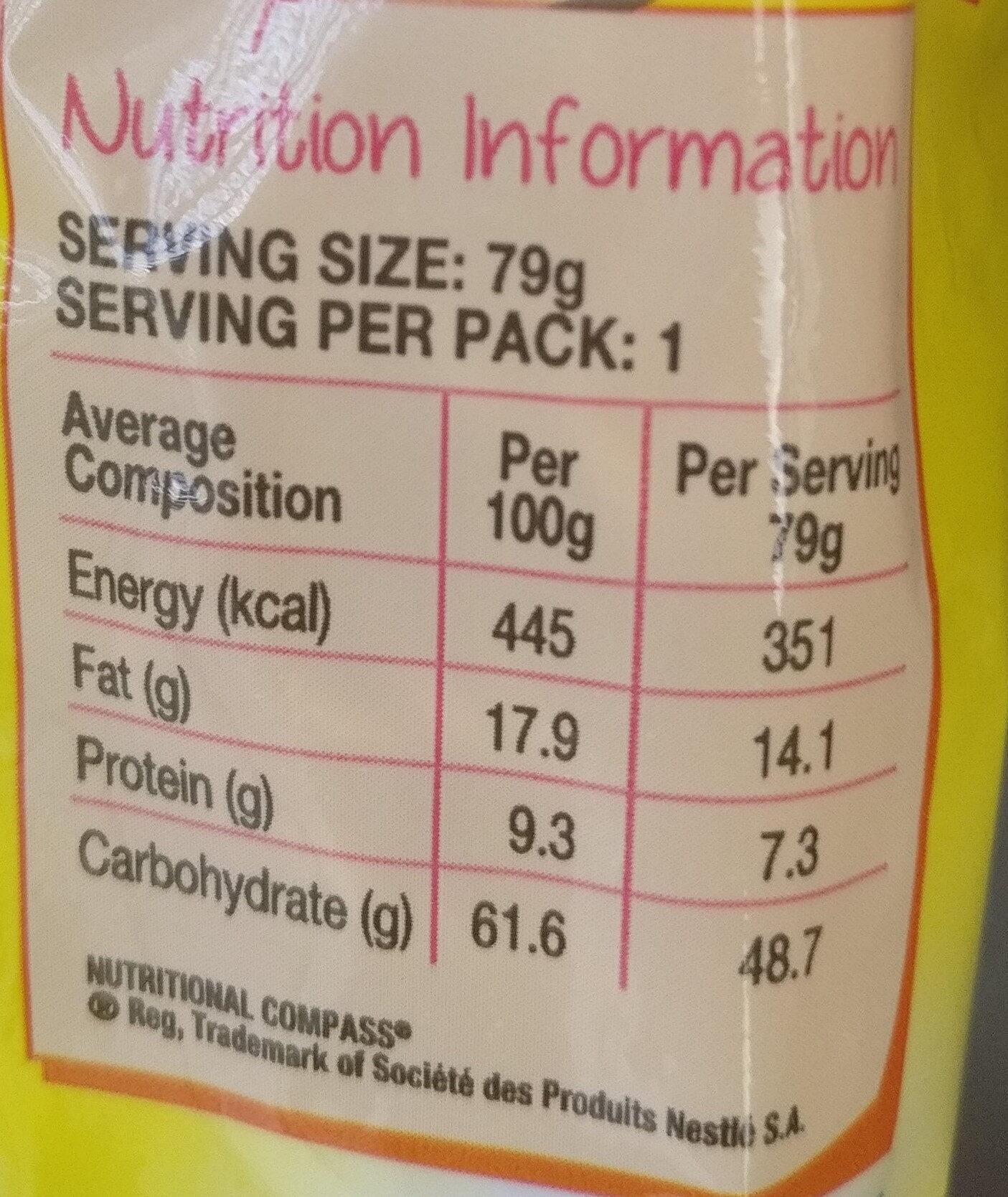 2 Minute Noodles Curry Flavour - Nutrition facts